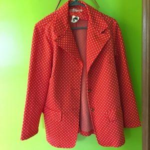 60-70's Orange & white polka dot polyester blazer